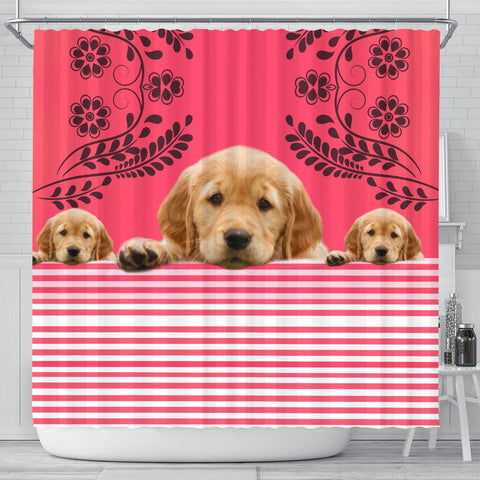Golden Retriever Dog Print Shower Curtain