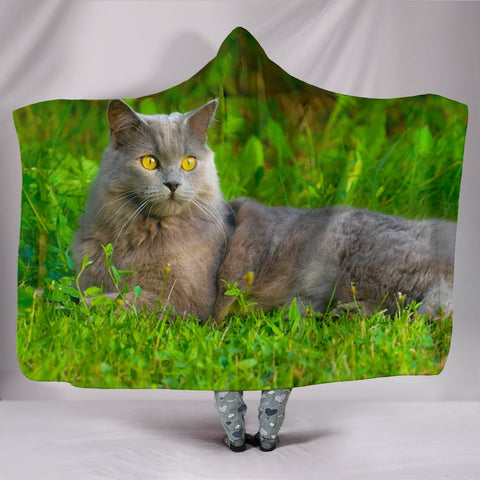 Chartreux Cat Nature Print Hooded Blanket