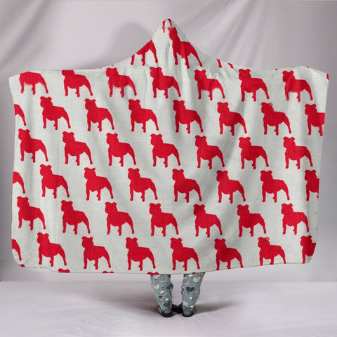 American Staffordshire Terrier Dog Pattern Print Hooded Blanket
