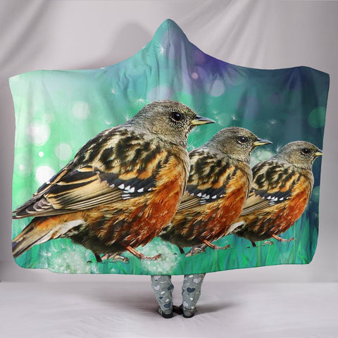 Accentor Bird Print Hooded Blanket