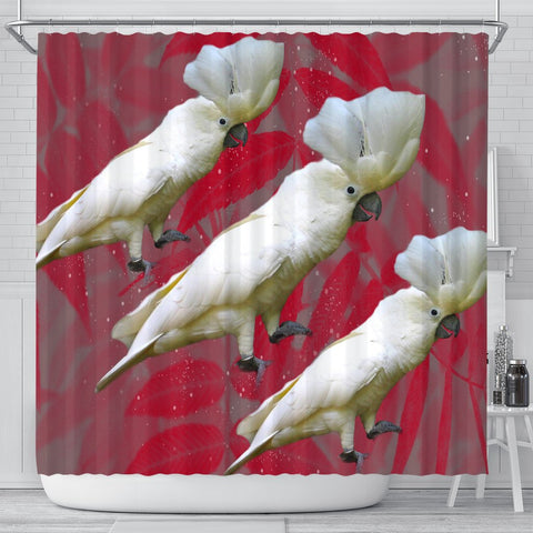 Umbrella Cockatoo Parrot Print Shower Curtains