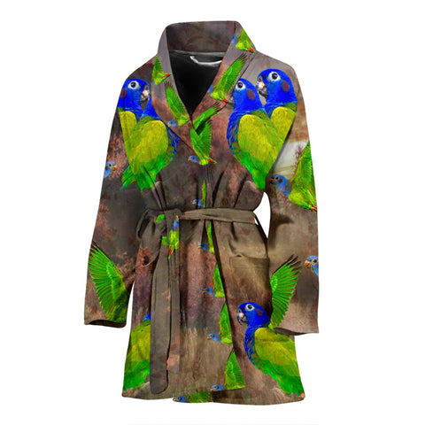 Blue Headed Parrot Art Print Women's Bath Robe