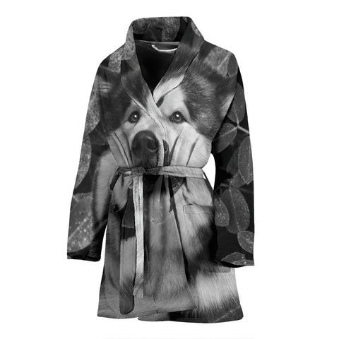 Alaskan Malamute Black And White Print Women's Bath Robe