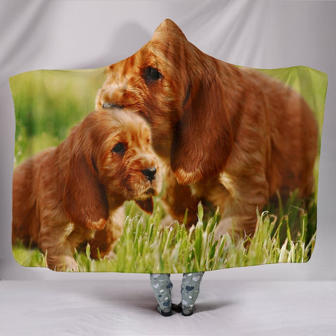 Cute Cocker Spaniel Puppy Print Hooded Blanket