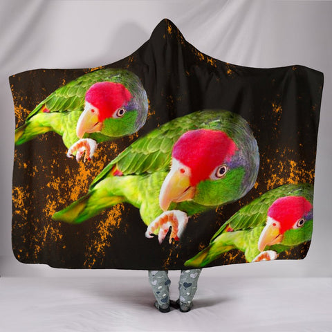 Amazon Red Headed Parrot Print Hooded Blanket
