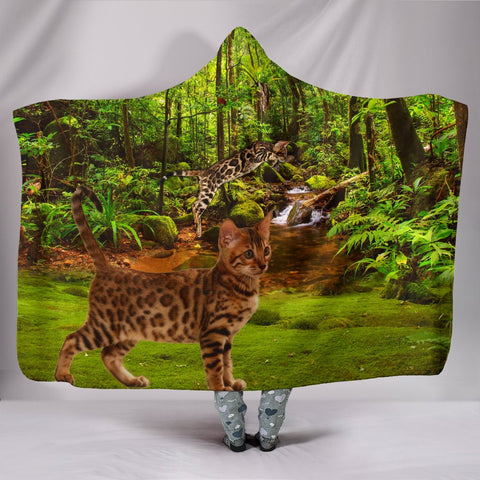 Bengal Cat Print Hooded Blanket