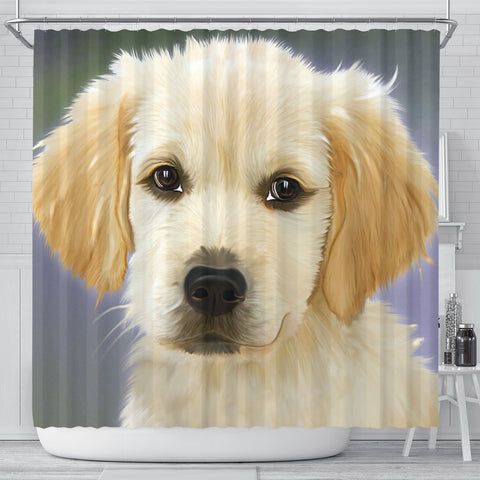 Golden Retriever Puppy Art Print Shower Curtains