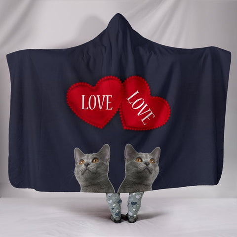 Chartreux Cat Love Print Hooded Blanket