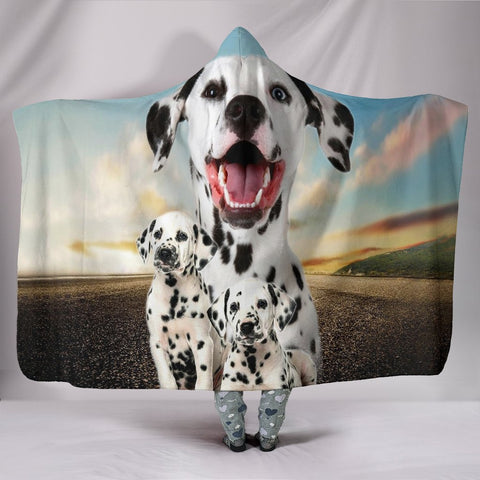 Cute Dalmatian Dog Print Hooded Blanket