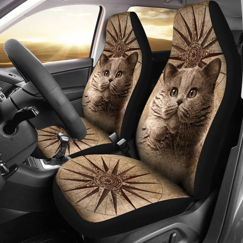Cute British Shorthair Cat Print Car Seat Covers