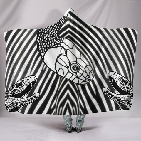 Black & White Snake Print Hooded Blanket