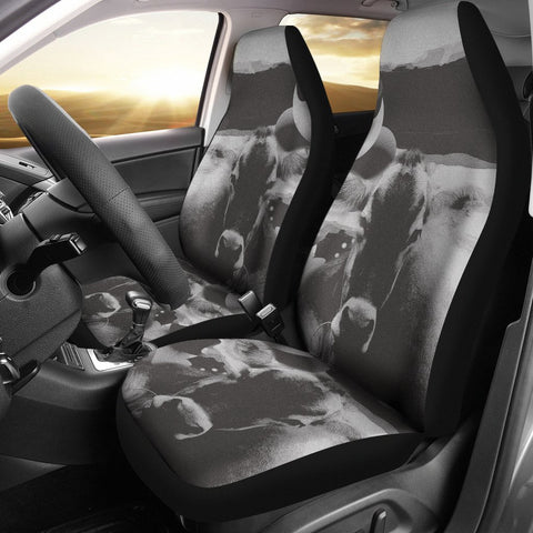 Black&White Brown Swiss cattle (Cow) Print Car Seat Covers