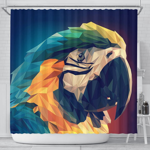 Blue And Yellow Macaw Parrot Vector Art Print Shower Curtains