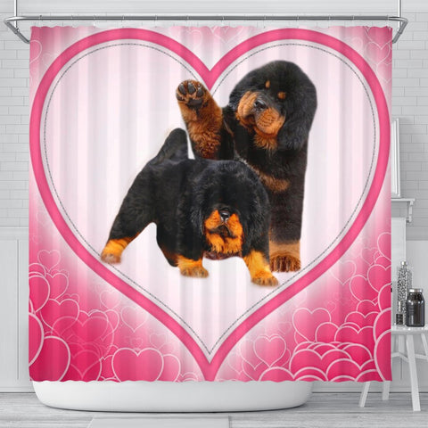 Cute Tibetan Mastiff Puppies Print Shower Curtain