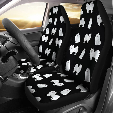 American Eskimo Dog Pattern On Black Print Car Seat Covers