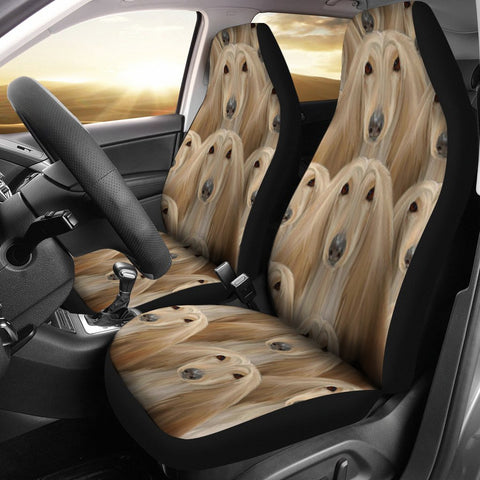 Afghan Hound Dog In Lots Print Car Seat Covers
