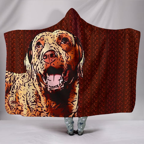 Chesapeake Bay Retriever Dog Print On Red Hooded Blanket