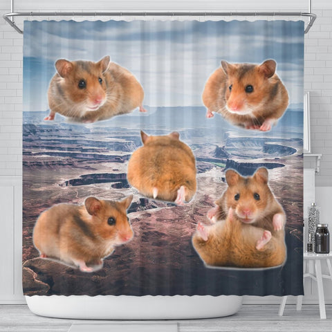 Djungarian Hamster Print Shower Curtains