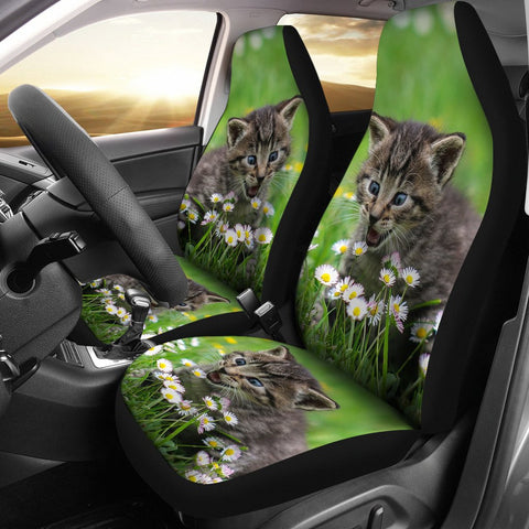 Cute American Shorthair Cat Print Car Seat Covers