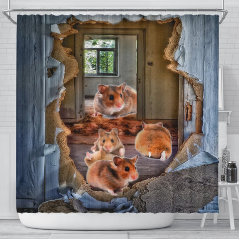 Djungarian Hamster 3D Print Shower Curtains