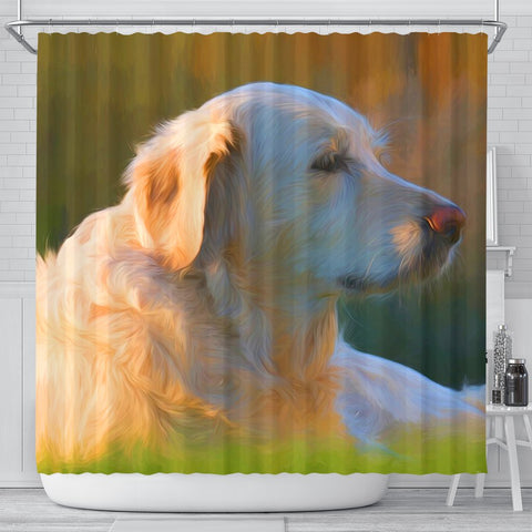 Golden Retriever Dog Painting Print Shower Curtains