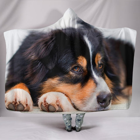 Australian Shepherd DogPrint Hooded Blanket