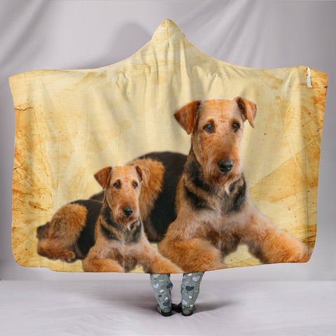 Airedale Terrier Print Hooded Blanket