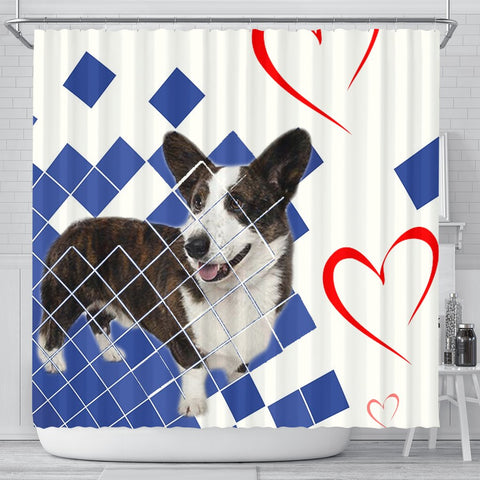 Cardigan Welsh Corgi Dog Print Shower Curtain
