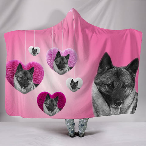 Cute Norwegian Elkhound Print Hooded Blanket