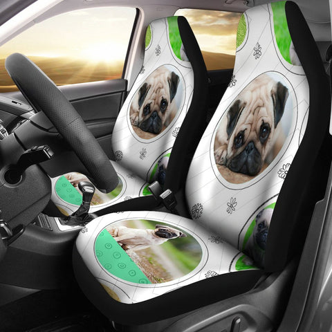 Cute Pug Art Print Car Seat Covers