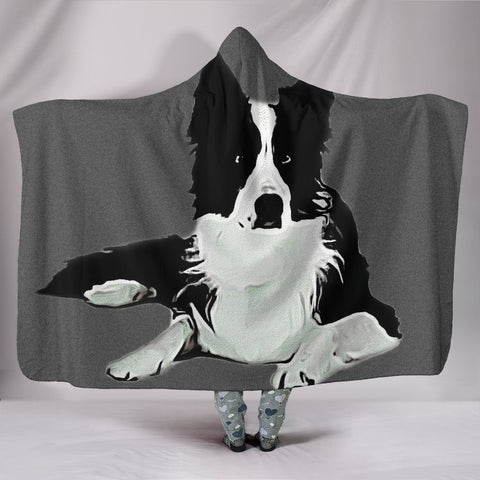 Amazing Border Collie Dog Print Hooded Blanket