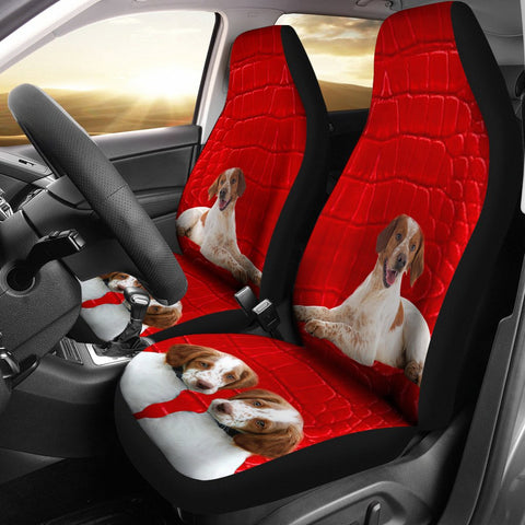 Brittany dog On Red Print Car Seat Covers