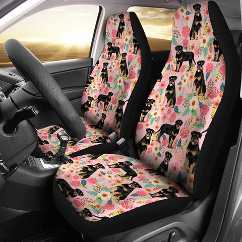 Rottweiler Dog Floral Print Car Seat Covers