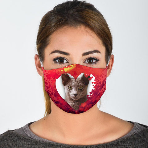 Russian Blue Cat On Heart Print Face Mask