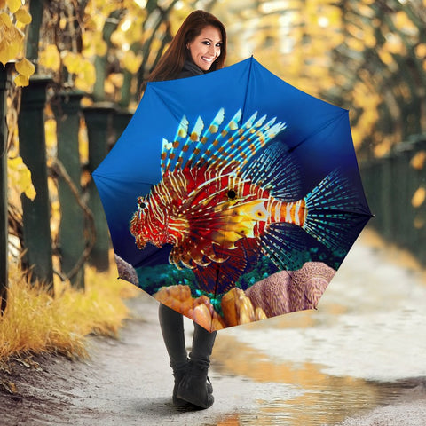 Amazing Red Lionfish Print Umbrellas