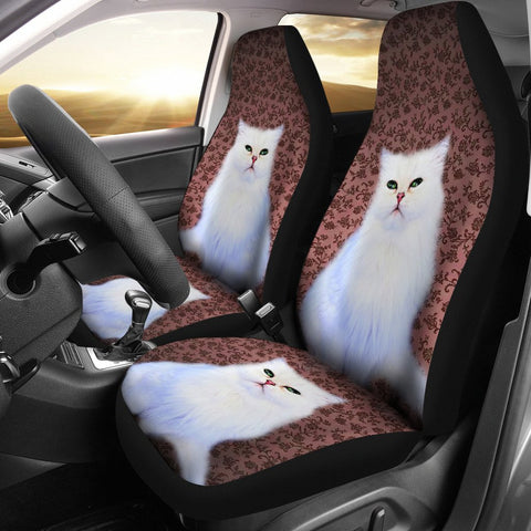 Cute White Persian Cat Print Car Seat Covers
