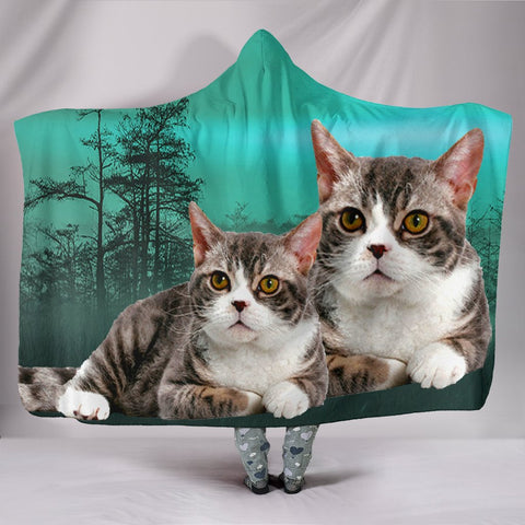 American Wirehair Cat Print Hooded Blanket