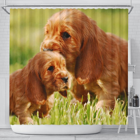 Cocker Spaniel Cute Puppy Print Shower Curtains