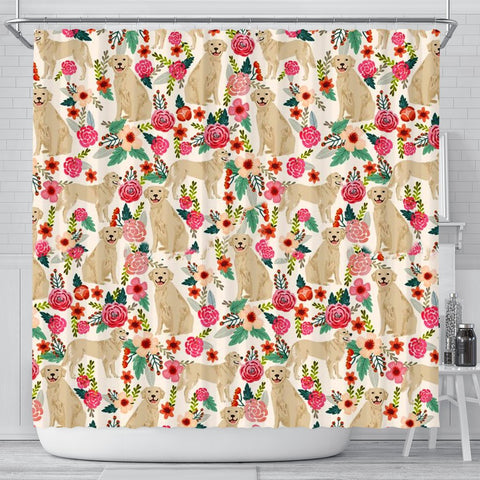 Golden Retriever Dog Floral Print Shower Curtains