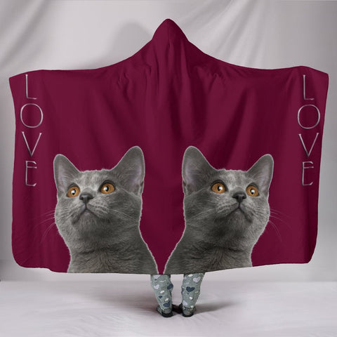 Chartreux Cat Print Hooded Blanket