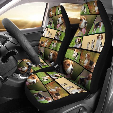 Beagle Collage Print Car Seat Covers