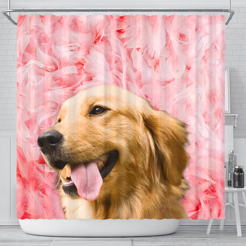 Golden Retriever On Pink Print Shower Curtains