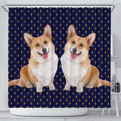 Cardigan Welsh Corgi Dog Print Shower Curtains