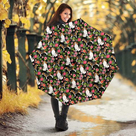 Beagle Dog Floral Print Umbrellas