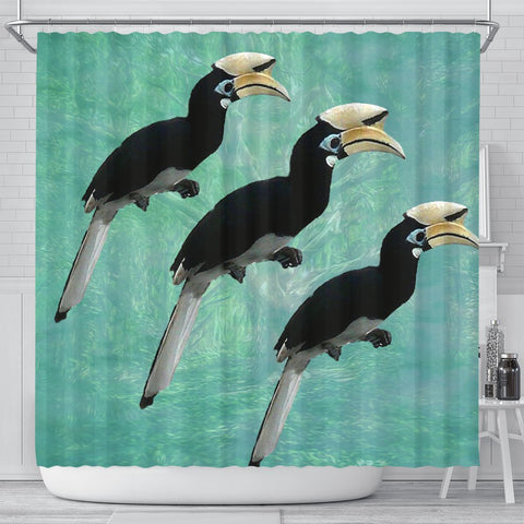 African Pied Hornbill Bird Print Shower Curtains