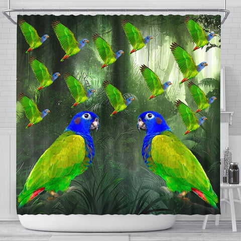 Blue Headed Parrot Print Shower Curtains
