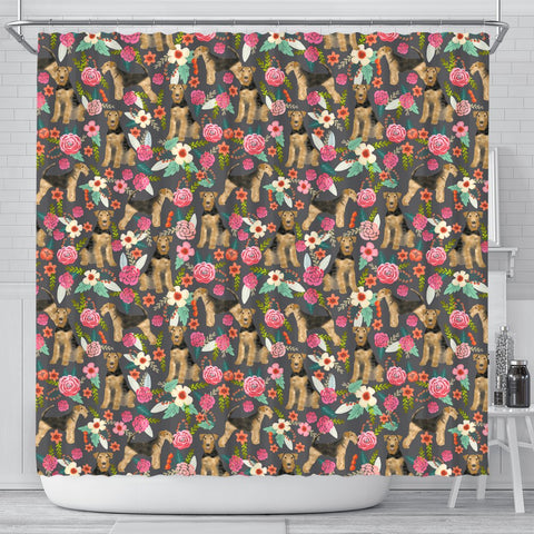 Airedale Terrier Dog Floral Print Shower Curtains