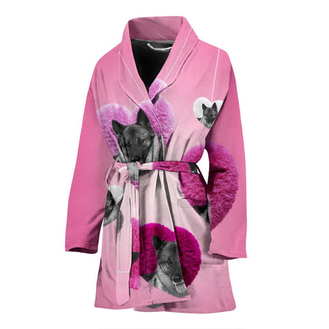 Norwegian Elkhound dog Print Women's Bath Robe