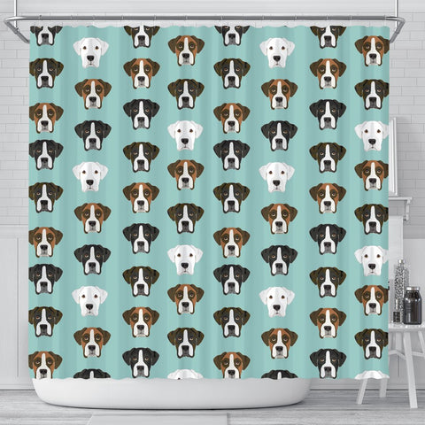 Boxer Dog Faces Print Shower Curtain