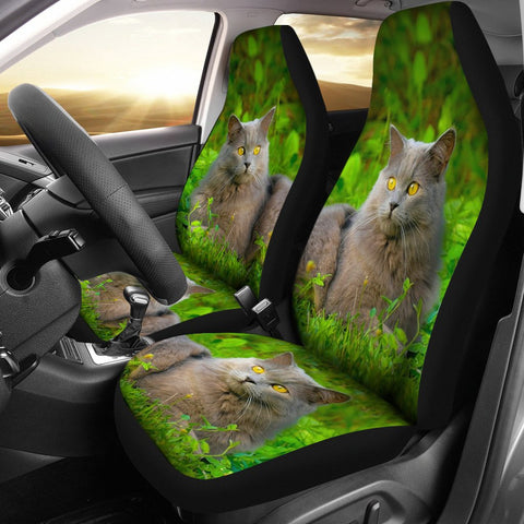 Chartreux Cat Nature Print Car Seat Covers